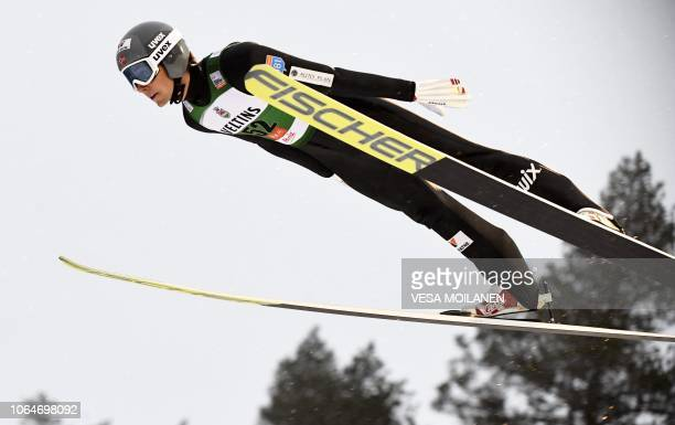 Jarl Magnus Riiber of Norway competes in the Nordic Combined HS 142 Ski Jumping Competition at the FIS Nordic Skiing World Cup in Ruka, Finland, on...