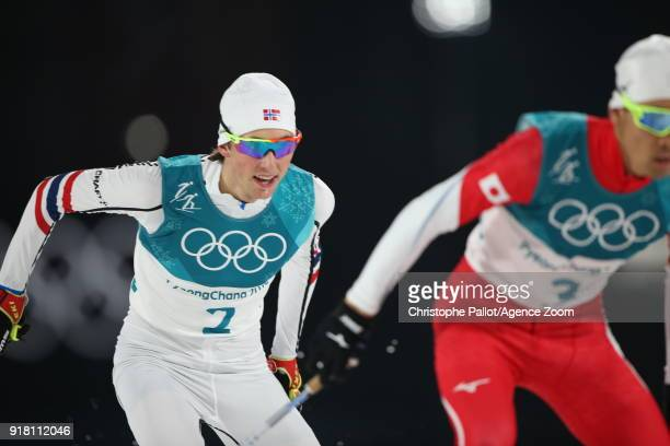 Jarl Magnus Riiber of Norway in action during the Nordic Combined Normal Hill/10km at Alpensia CrossCountry Centre on February 14 2018 in...