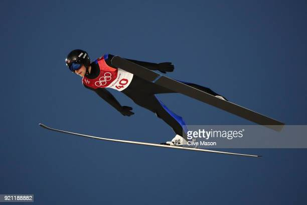 Jarl Magnus Riiber of Norway jumps during the Nordic Combined Individual Gundersen Large Hill Ski Jumping trial round on day eleven of the...