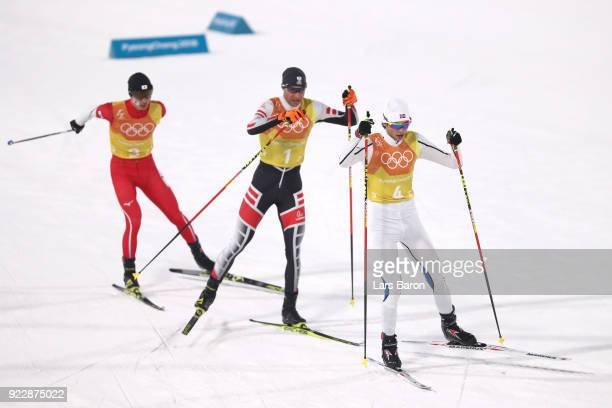 Jarl Magnus Riiber of Norway leads the pack during the Nordic Combined Team Gundersen LH/4x5km CrossCountry on day thirteen of the PyeongChang 2018...
