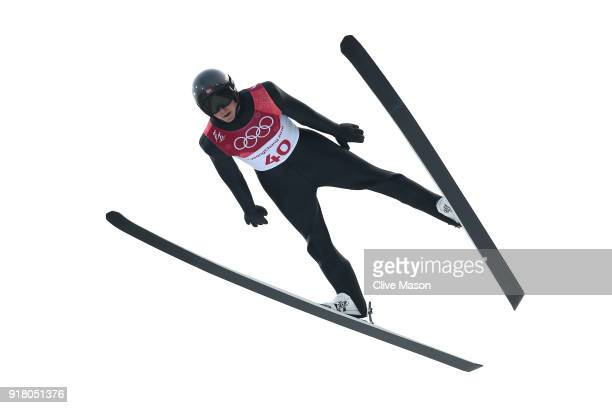 Jarl Magnus Riiber of Norway makes a jump during the Nordic Combined Individual Gundersen Normal Hill and 10km Cross Country on day five of the...
