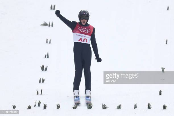 Jarl Magnus Riiber of Norway reacts as he lands a jump during the Nordic Combined Individual Gundersen Normal Hill and 10km Cross Country on day five...