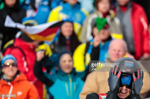 TOPSHOT Jarl Magnus Riiber of Norway reacts during the Seefeld Nordic Combined Triple of the FIS Nordic Combined World Cup in Seefeld Austria on...