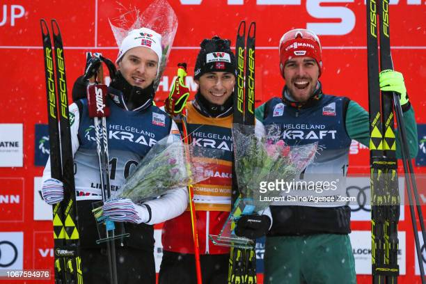 Jarl Magnus Riiber of Norway takes 1st place Joergen Graabak of Norway takes 2nd place Johannes Rydzek of Germany takes 3rd place during the FIS...