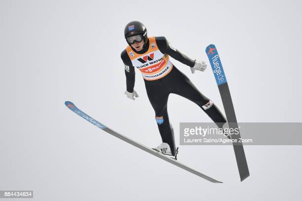 Jarl Magnus Riiber of Norway takes joint 1st place during the FIS Nordic World Cup Men's and Women's Nordic Combined HS100/Team on December 2 2017 in...