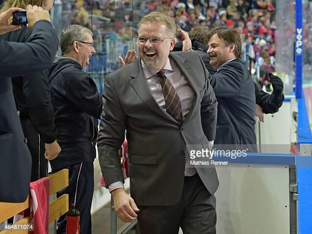 Jarl Pasanen of the Iserlohn Roosters celebrates the win during the game between Eisbaeren Berlin and Iserlohn Roosters on March 1 2015 in Berlin...