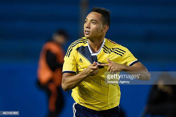 Jarlan Barrera of Colombia celebrates after scoring a goal during the South American U-20 Football Championship match between Argentina and Colombia...