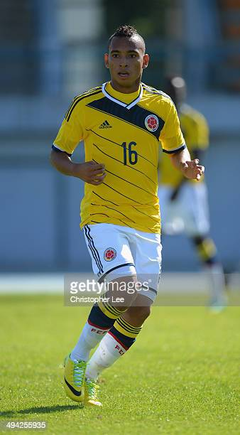Jarlan Barrera of Colombia in action during the Toulon Tournament Group B match between Colombia and Qatar at the Stade De Lattre on May 28, 2014 in...