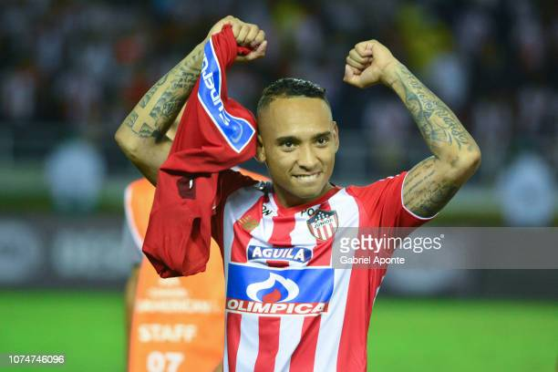 Jarlan Barrera of junior celebrates after his team qualifyied to the final after the semifinal second leg match between Junior and Independiente...