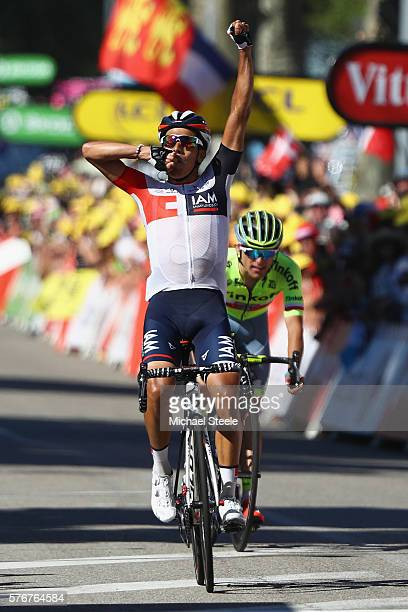 Jarlinson Pantano of Colombia and IAM Cycling celebrates victory from Rafal Majka of Poland and Tinkoff during the 160km stage15 of Le Tour de France...