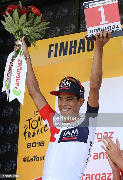 Jarlinson Pantano of Colombia and IAM Cycling earns the stage's best fighter trophy following stage 17 between Bern and Finhaut-Emosson on July 20,...