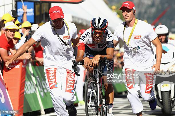Jarlinson Pantano of Colombia and IAM Cycling is exhausted after crossing the finishing line during the 184.5km stage seventeen of Le Tour de France...
