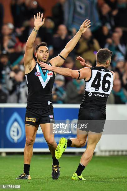 Jarman Impey and Sam Gray of the Power celebrate during the AFL First Elimination Final match between Port Adelaide Power and West Coast Eagles at...