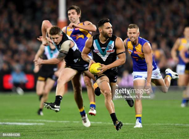 Jarman Impey gets the ball out the centre during the AFL First Elimination Final match between Port Adelaide Power and West Coast Eagles at Adelaide...