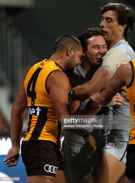 Jarman Impey of the Hawks and Jed Lamb of the Blues clash during the AFL 2018 JLT Community Series match between the Hawthorn Haws and the Carlton...