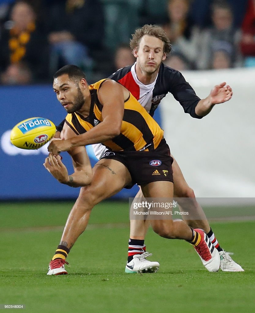 Jarman Impey of the Hawks and Jimmy Webster of the Saints in action during the 2018 AFL round six match between the Hawthorn Hawks and the St Kilda Saints at UTAS Stadium on April 28, 2018 in Launceston, Australia.