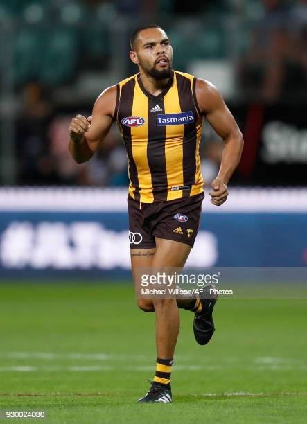 Jarman Impey of the Hawks celebrates a goal during the AFL 2018 JLT Community Series match between the Hawthorn Haws and the Carlton Blues at UTAS...