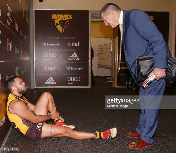 Jarman Impey of the Hawks celebrates the win with Hawks President Jeff Kennett during the round 14 AFL match between the Hawthorn Hawks and the Gold...