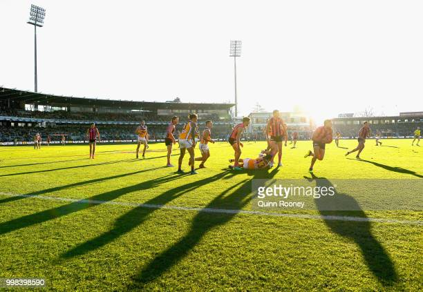 Jarman Impey of the Hawks gathers the ball during the round 17 AFL match between the Hawthorn Hawks and the Brisbane Lions at University of Tasmania...