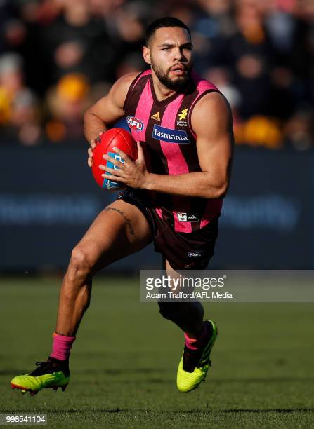Jarman Impey of the Hawks in action during the 2018 AFL round 17 match between the Hawthorn Hawks and the Brisbane Lions at UTAS Stadium on July 14...