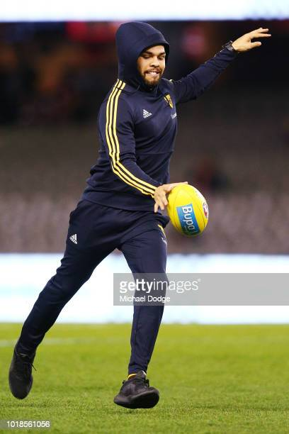 Jarman Impey of the Hawks kicks the ball before warm up during the round 22 AFL match between the St Kilda Saints and Hawthorn Hawks at Etihad...
