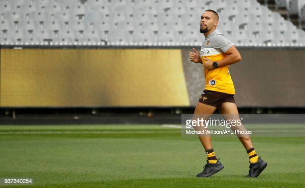 Jarman Impey of the Hawks looks on during the 2018 AFL round 01 match between the Hawthorn Hawks and the Collingwood Magpies at the Melbourne Cricket...