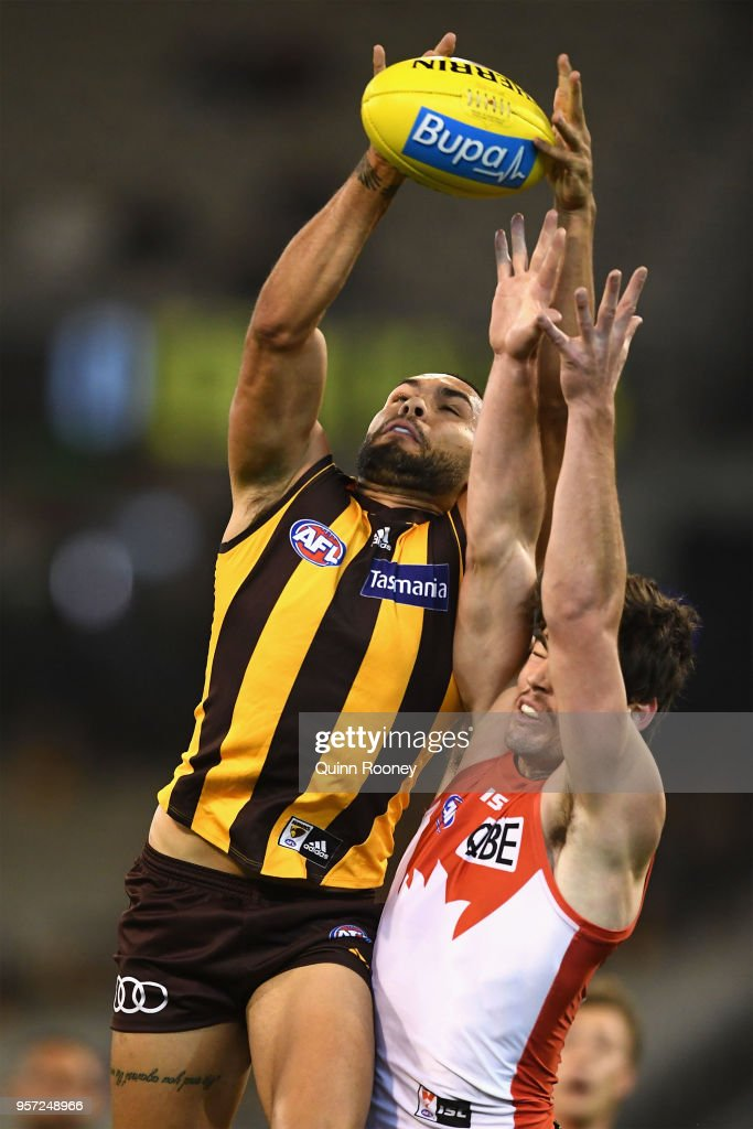 Jarman Impey of the Hawks marks during the round eight AFL match between the Hawthorn Hawks and the Sydney Swans at Melbourne Cricket Ground on May 11, 2018 in Melbourne, Australia.