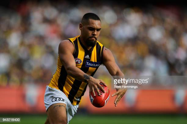 Jarman Impey of the Hawks runs the ball during the round three AFL match between the Richmond Tigers and the Hawthorn Hawks at Melbourne Cricket...