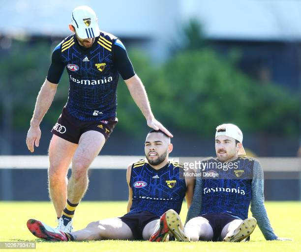 Jarman Impey Teia Miles and Brendan Whitecross of the Hawks of the Hawks relax during a Hawthorn Hawks AFL training session at Waverley Park on...
