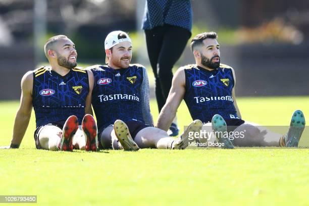 Jarman Impey Teia Miles and Paul Puopolo of the Hawks relax during a Hawthorn Hawks AFL training session at Waverley Park on September 5 2018 in...