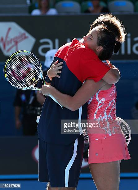 Jarmila Gajdosova and Matthew Ebden of Australia celebrate winning championship point in their mixed doubles final match against Lucie Hradecka and...