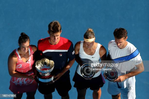 Jarmila Gajdosova and Matthew Ebden of Australia pose with the championship trophy after winning their mixed doubles final match against Lucie...