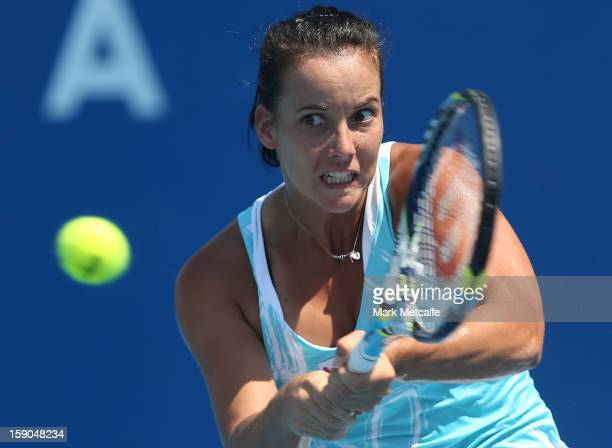 Jarmila Gajdosova of Australia plays a backhand in her first round match against Romina Oprandi of Switzerland during day four of the Hobart...