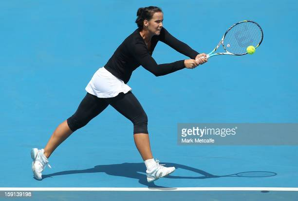 Jarmila Gajdosova of Australia plays a backhand in her second round match against Olga Govortsova of Belarus during day five of the Hobart...