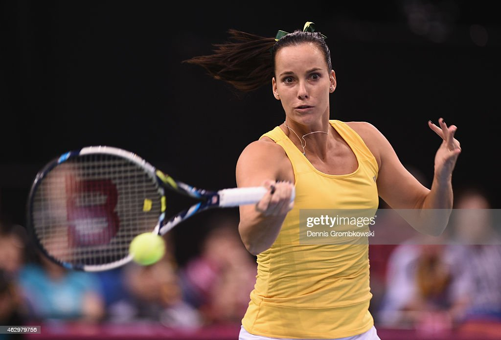 Jarmila Gajdosova of Australia plays a forehand in her single match against Andrea Petkovic of Germany during the Fed Cup 2015 World Group First Round tennis between Germany and Australia at Porsche-Arena on February 8, 2015 in Stuttgart, Germany.