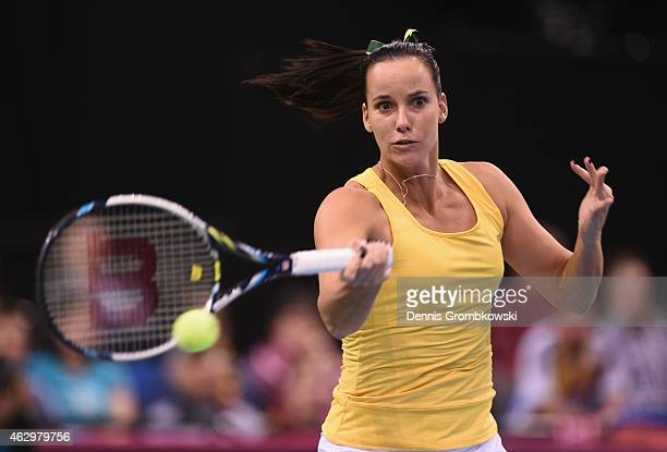 Jarmila Gajdosova of Australia plays a forehand in her single match against Andrea Petkovic of Germany during the Fed Cup 2015 World Group First...