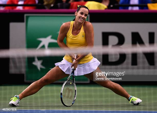 Jarmila Gajdosova of Australia reacts during her single match against Angelique Kerber of Germany during the Fed Cup 2015 World Group First Round...