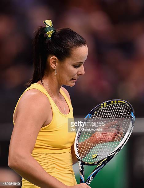Jarmila Gajdosova of Australia reacts during her single match against Andrea Petkovic of Germany during the Fed Cup 2015 World Group First Round...