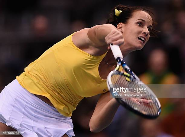Jarmila Gajdosova of Australia serves during her single match against during the Fed Cup 2015 World Group First Round tennis between Germany and...