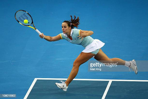 Jarmila Groth of Australia plays a forehand during her quarter final match against Roberta Vinci of Italy during day five of the Moorilla Hobart...