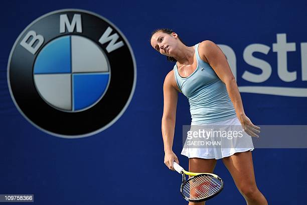 Jarmila Groth of Australia reacts after loosing a point against Ayumi Morita of Japan during a quarter-final match of the WTA Malaysian Open tennis...