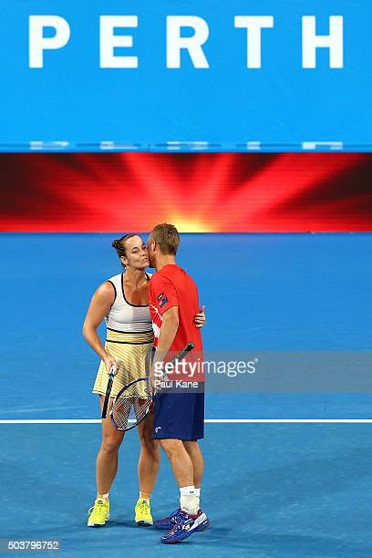 Jarmila Wolfe and Lleyton Hewitt of Australia Gold celebrate winning the mixed doubles matach against Elina Svitolina and Alexandr Dolgopolov of the...