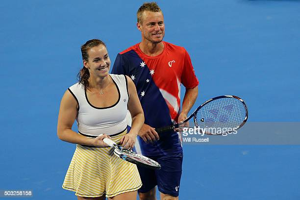 Jarmila Wolfe and Lleyton Hewitt of Australia Gold talk tactics in the mixed doubles match against Karolina Pliskova and Jiri Vesely of the Czech...