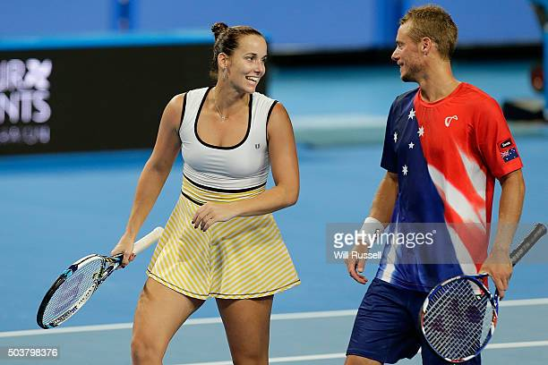 Jarmila Wolfe and Lleyton Hewitt of Australia Gold talk tactics in the mixed doubles match against Elina Svitolina and Alexandr Dolgopolov of the...