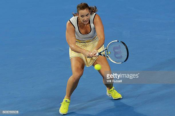 Jarmila Wolfe of Australia Gold plays a backhand in the women's single match against Karolina Pliskova of the Czech Republic during day one of the...