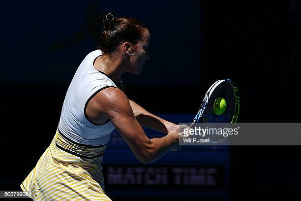 Jarmila Wolfe of Australia Gold plays a backhand in the women's single match against Elina Svitolina of the Ukraine during day five of the 2016...