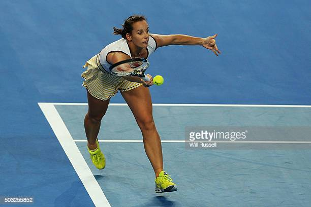 Jarmila Wolfe of Australia Gold plays a forehand in the women's single match against Karolina Pliskova of the Czech Republic during day one of the...