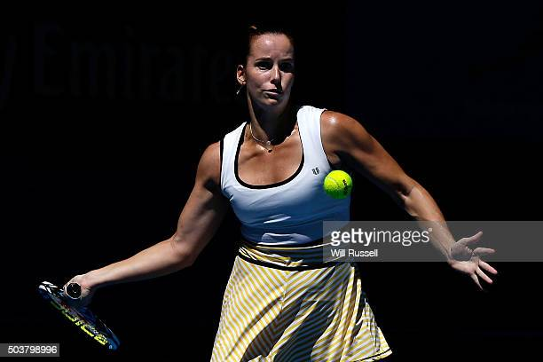 Jarmila Wolfe of Australia Gold plays a forehand in the women's single match against Elina Svitolina of the Ukraine during day five of the 2016...