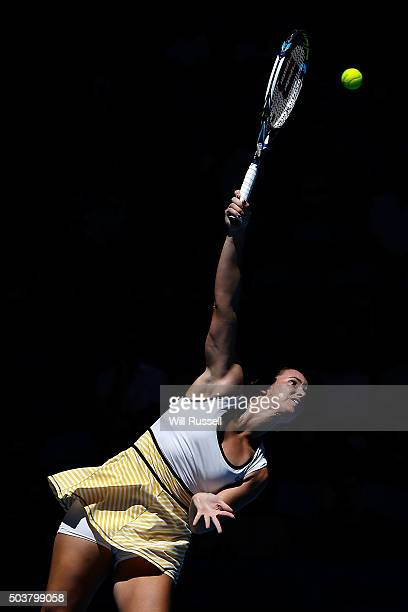 Jarmila Wolfe of Australia Gold serves in the women's single match against Elina Svitolina of the Ukraine during day five of the 2016 Hopman Cup at...