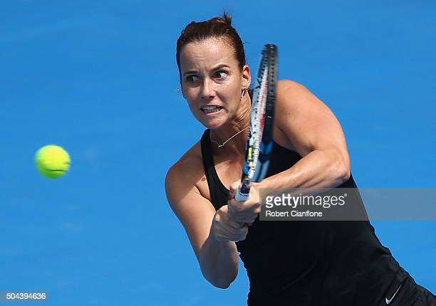 Jarmila Wolfe of Australia plays a backhand in the women's single's match against Naomi Osaka of Japan during day two of the 2016 Hobart...